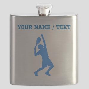 Custom Blue Tennis Player Flask
