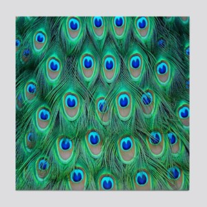 Peacock Feathers Tile Coaster