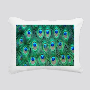 Peacock Feathers Rectangular Canvas Pillow