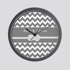 Gray Chevron and Rope Personalized Wall Clock