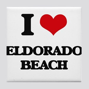 I Love Eldorado Beach Tile Coaster