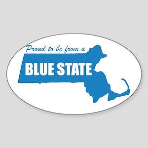 Blue State Massachusetts MA Oval Sticker