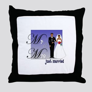 Mr. & Mrs. in Blue Throw Pillow