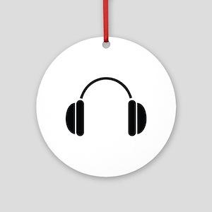 MUSIC HEADPHONES Ornament (Round)