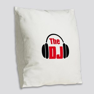 THE DISC JOCKEY Burlap Throw Pillow