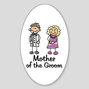 Cartoon Groom's Mother Oval Sticker
