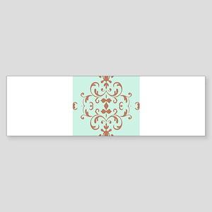 Mint Brown Damask Flourish Bumper Sticker