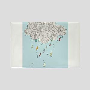 Blue Sky Rain Cloud Illustration Magnets