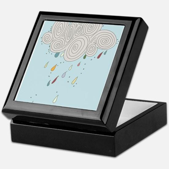 Blue Sky Rain Cloud Illustration Keepsake Box