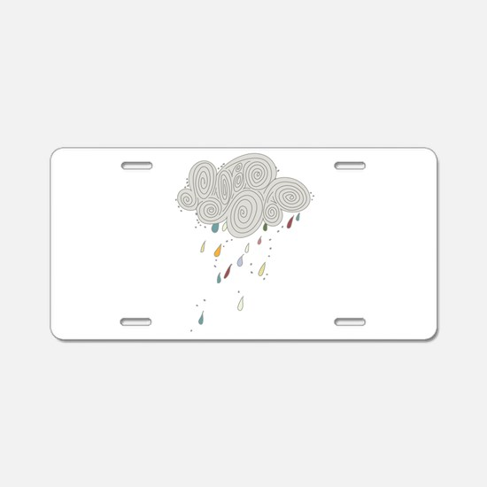 Rain Cloud Illustration Aluminum License Plate