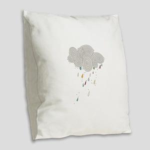 Rain Cloud Illustration Burlap Throw Pillow