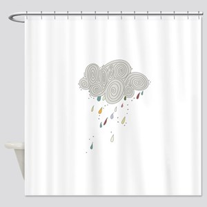 Rain Cloud Illustration Shower Curtain