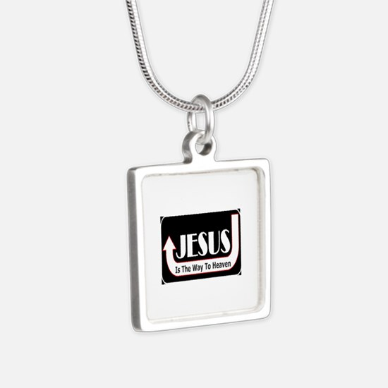 Jesus is the way Silver Square Necklace