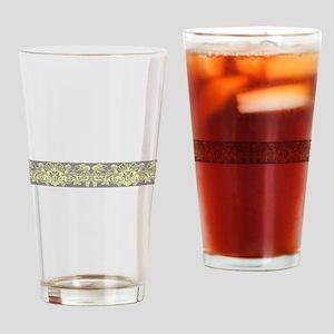 Yellow Gray Ornamental Border Drinking Glass