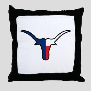 TEXAS FLAG LONGHORN Throw Pillow