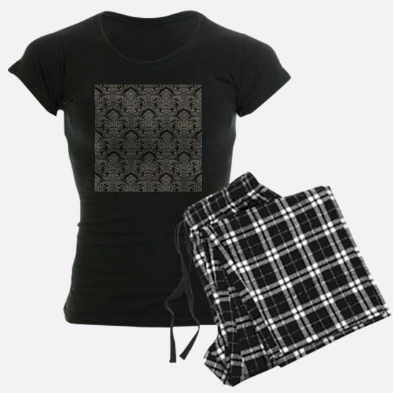 Black Gray Pencil Thin Damask Pajamas