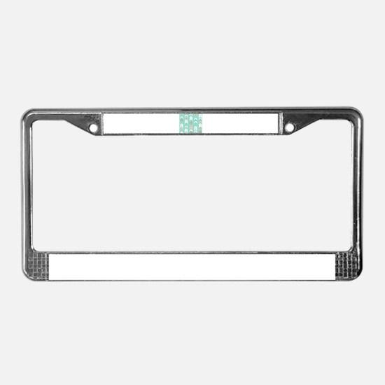Pink Mint Arrows Pattern License Plate Frame