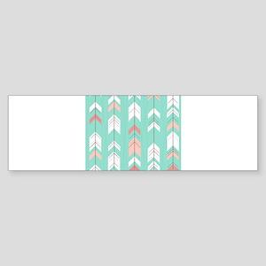 Pink Mint Arrows Pattern Bumper Sticker