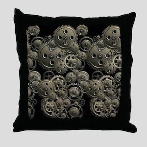 Steampunk Clock Gears Throw Pillow