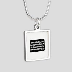 Jesus said to him Silver Square Necklace