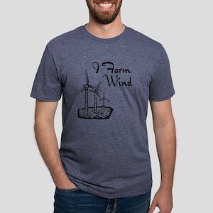 i farm wind with 3 windmills Mens Tri-blend T-