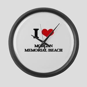 I Love Morgan Memorial Beach Large Wall Clock