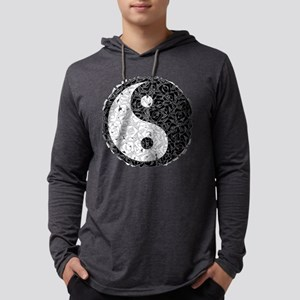 Ying Yang Footprints Mens Hooded Shirt