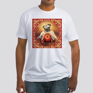 Pug Sacred Heart Fitted T-Shirt
