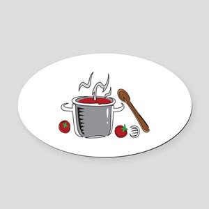 ITALIAN SAUCE COOKING Oval Car Magnet