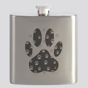 White Paws All Over Black Paw Print Flask