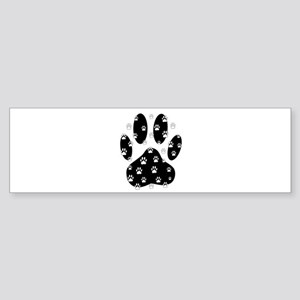 White Paws All Over Black Paw Print Bumper Sticker