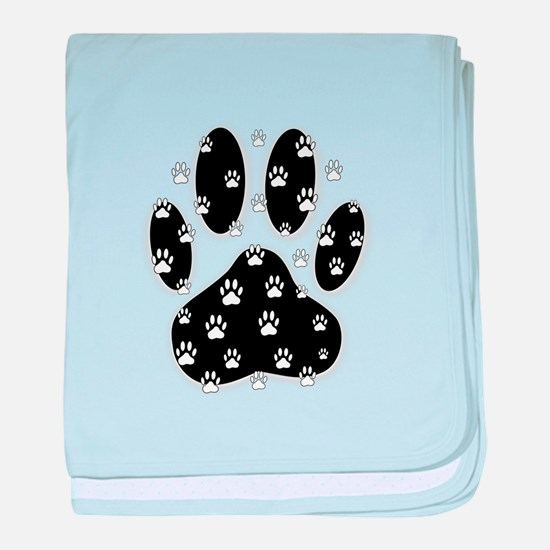 White Paws All Over Black Paw Print baby blanket