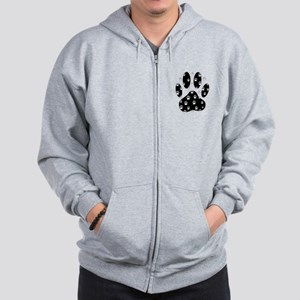 White Paws All Over Black Paw Print Zip Hoodie