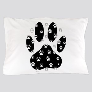White Paws All Over Black Paw Print Pillow Case