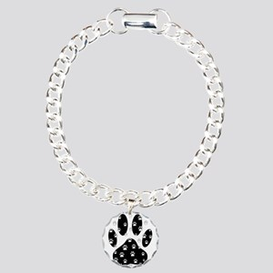White Paws All Over Blac Charm Bracelet, One Charm