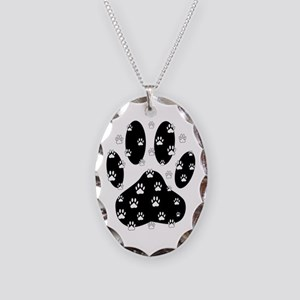 White Paws All Over Black Paw Necklace Oval Charm