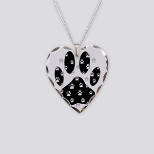White Paws All Over Black Paw Necklace Heart Charm
