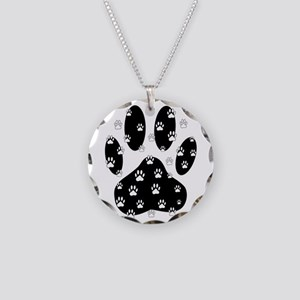 White Paws All Over Black Pa Necklace Circle Charm