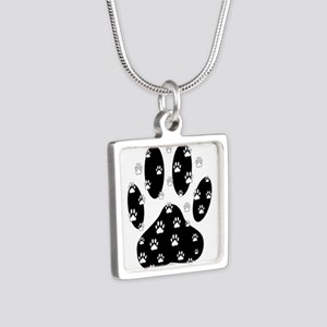 White Paws All Over Black Paw Print Necklaces