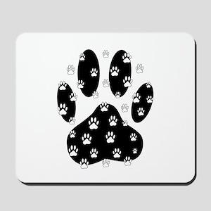 White Paws All Over Black Paw Print Mousepad