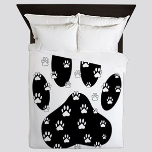 White Paws All Over Black Paw Print Queen Duvet