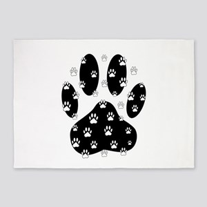 White Paws All Over Black Paw Print 5'x7'Area Rug