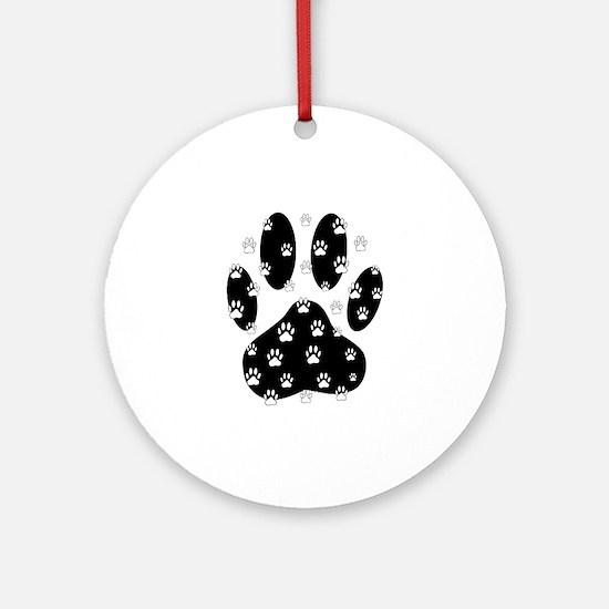White Paws All Over Black Paw Pri Ornament (Round)