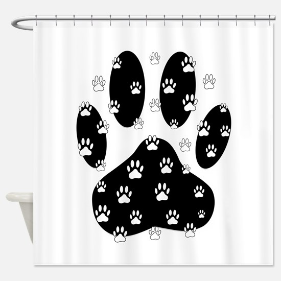 White Paws All Over Black Paw Print Shower Curtain
