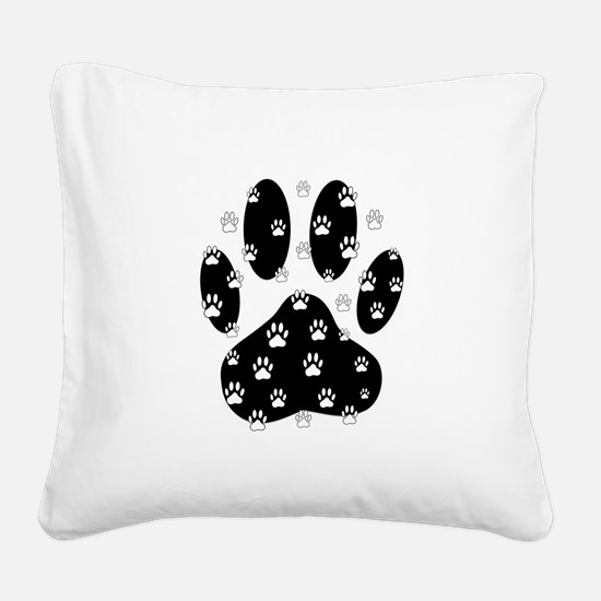 White Paws All Over Black Paw Square Canvas Pillow