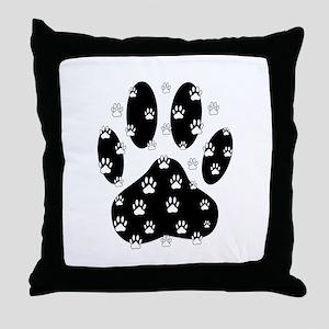 White Paws All Over Black Paw Print Throw Pillow