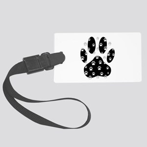 White Paws All Over Black Paw Pr Large Luggage Tag