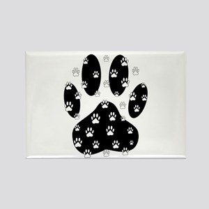 White Paws All Over Black Paw Print Magnets