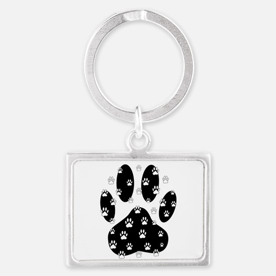 White Paws All Over Black Paw Print Keychains
