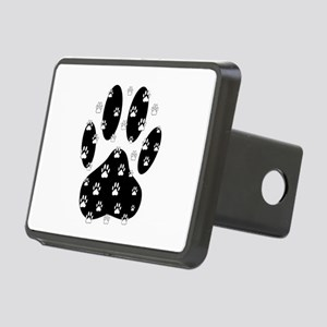 White Paws All Over Black Rectangular Hitch Cover
